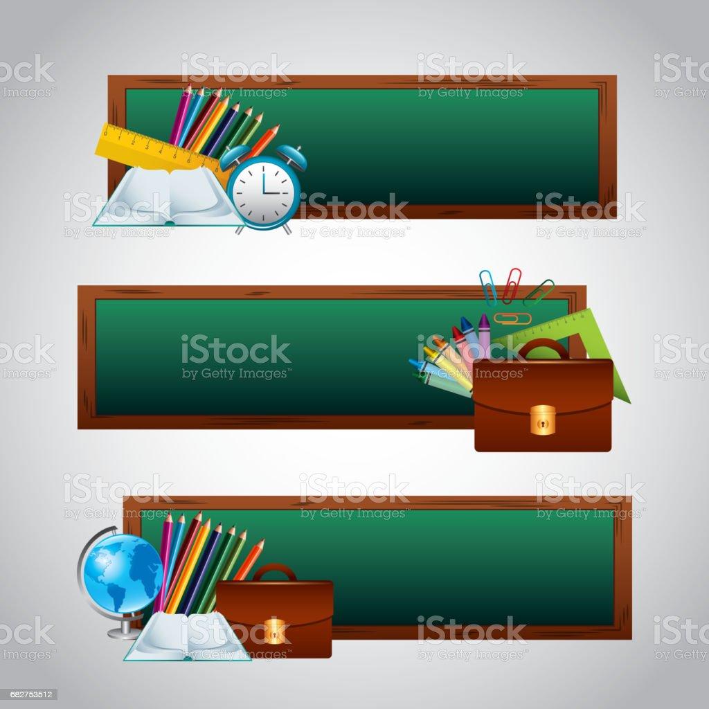 back to school set supplies vector art illustration