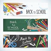 back to school set vector banner