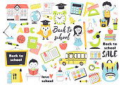Back to school set, hand drawn elements- stationary, cute cartoon kids, backpack, books and other.