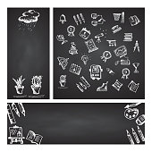 Back to school. Set web banner. Hand drawn school icons and symbols on black chalkboard. With place for your text