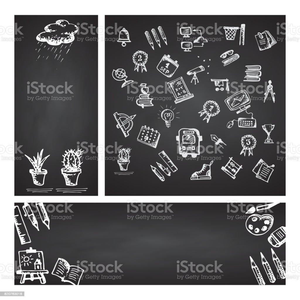 Retour à l'école. Bannière web ensemble. Dessinés à la main école icônes et symboles sur le tableau noir. Avec la place pour votre texte - Illustration vectorielle