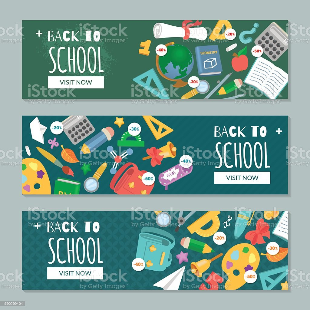 Back to school. Set with banners on education theme royaltyfri back to school set with banners on education theme-vektorgrafik och fler bilder på auktoritet