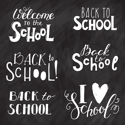 Back to school set with hand drawn calligraphy and doodles.