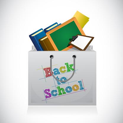 Back to school shopping bag illustration design