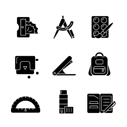 Back to school shopping black glyph icons set on white space