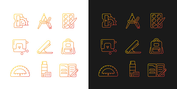 Back to school shopping gradient icons set for dark and light mode