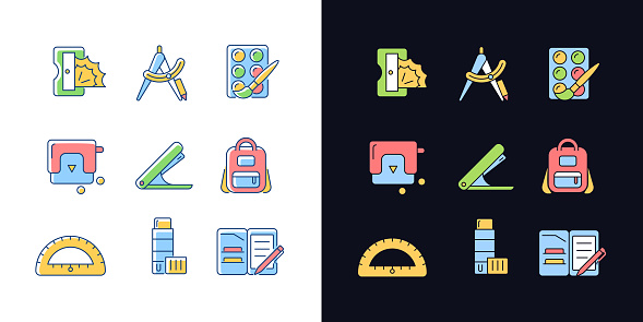 Back to school shopping light and dark theme RGB color icons set