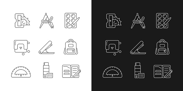 Back to school shopping linear icons set for dark and light mode