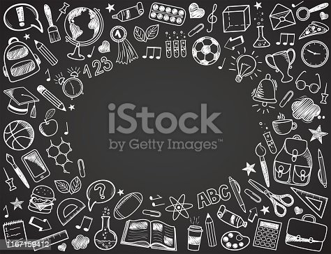 Back to School - sketch doodle set. Various hand-drawn school items arranged as frame on a dark grey blackboard. Vector illustration