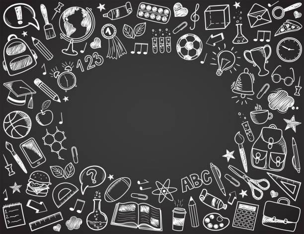 Back to School - sketch doodle set. Vector illustration Back to School - sketch doodle set. Various hand-drawn school items arranged as frame on a dark grey blackboard. Vector illustration conceptual symbol stock illustrations