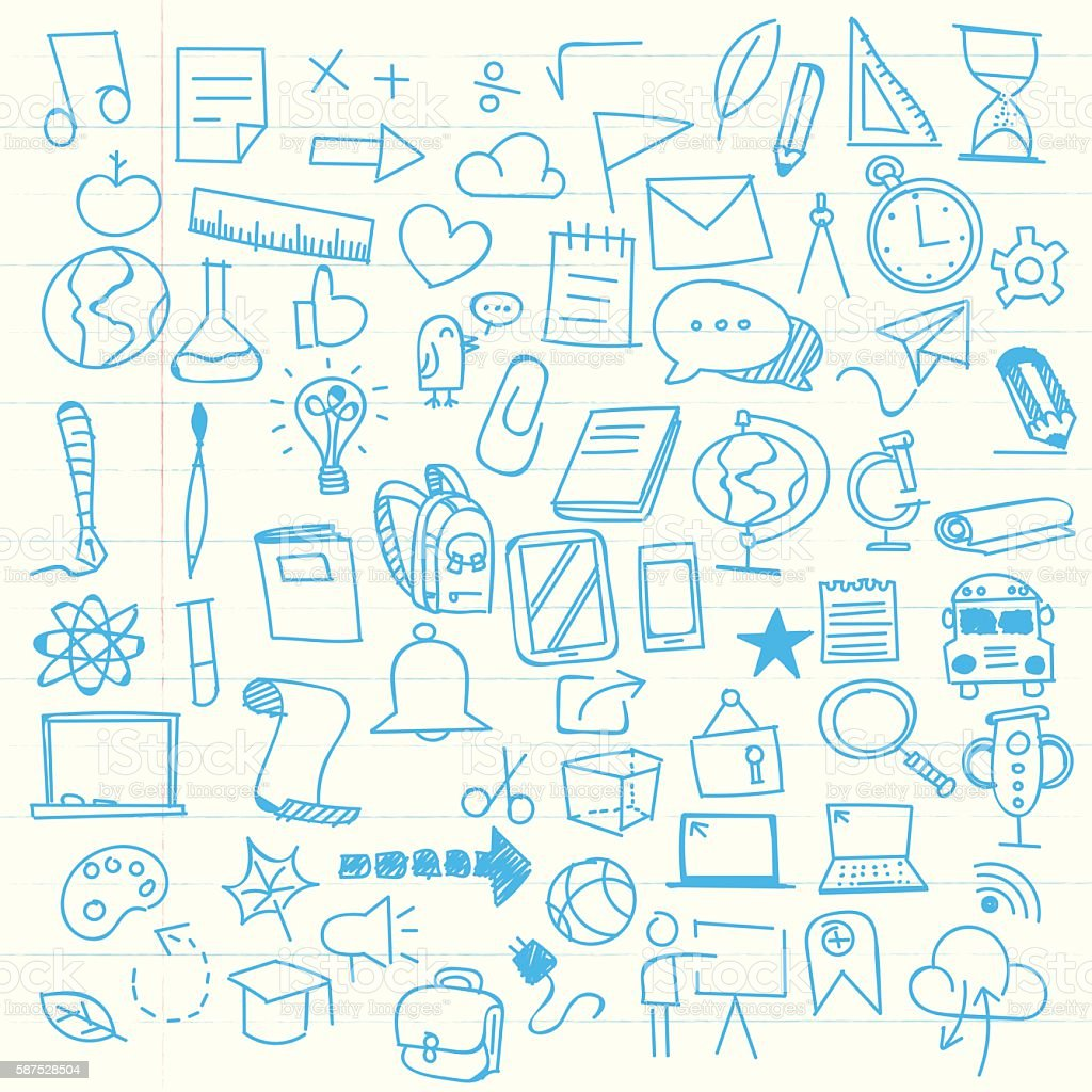 Back to school sketch elements vector art illustration