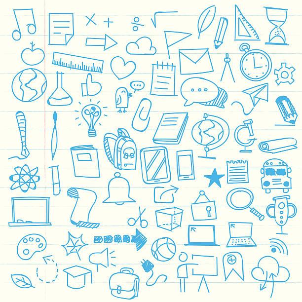 back to school sketch elements - 学校の文房具点のイラスト素材/クリップアート素材/マンガ素材/アイコン素材