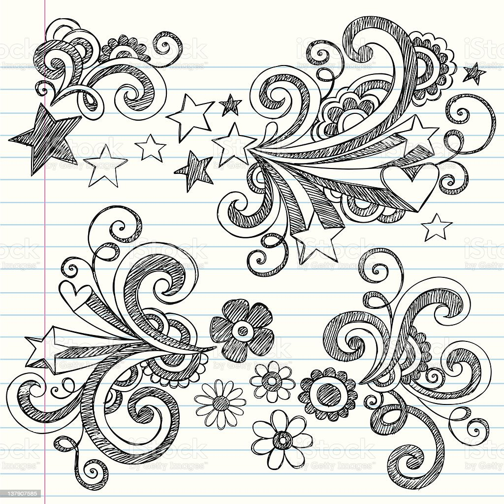 Back To School Sketchy Notebook Doodles Icon Set Stock ...