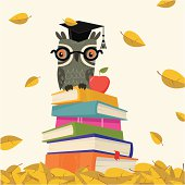 Owl in teacher hat sittiong on the books pile. Falling leaves. Elements are on differen layer.