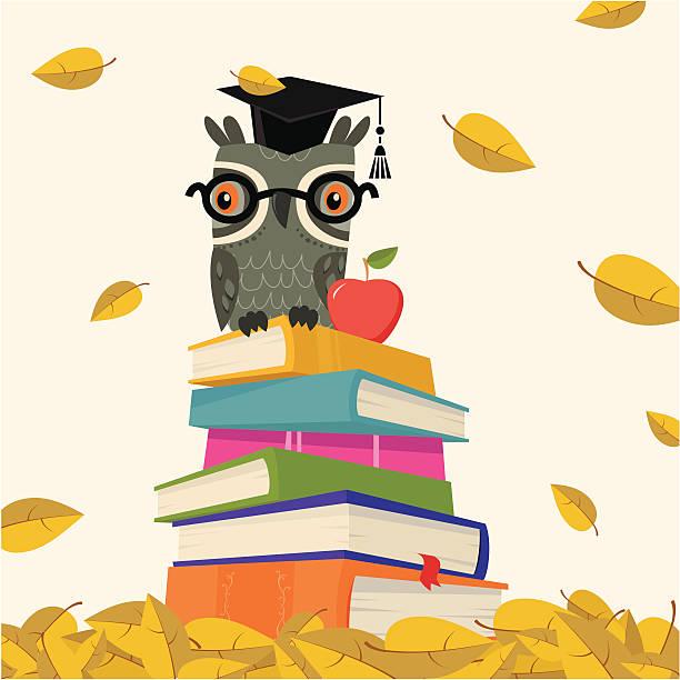 bildbanksillustrationer, clip art samt tecknat material och ikoner med back to school - stack of book with owl - children autumn