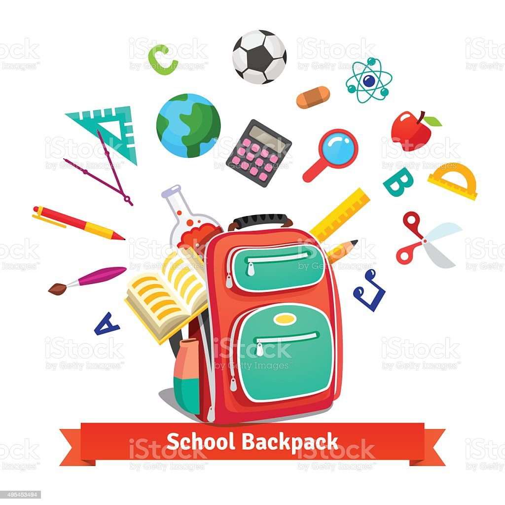 Back to school. Student backpack​​vectorkunst illustratie