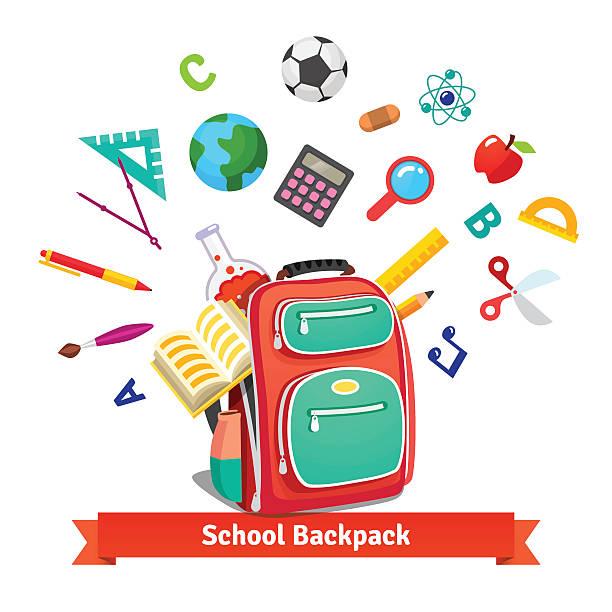 Bекторная иллюстрация Обратно в школу. Студенческий рюкзак