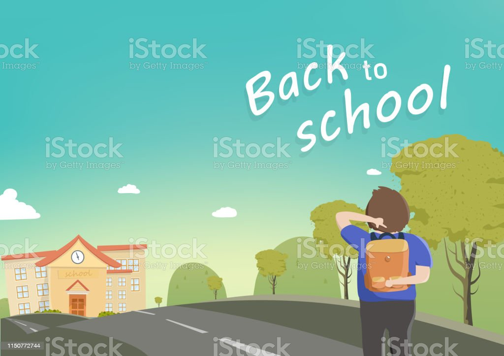 Back to school, student walks to school, seasonal, vector cartoon,...