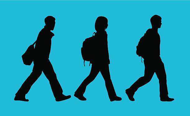 Back to School Students ( Vector ) Students silhouette. All backpacks on separate layers. svg stock illustrations
