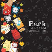 Back To School Supplies background with vertical seamless pattern. Alarm clock, books, pencils, a stack of books, school lunch, magnifying glass, globe and fall leaves. Icons are a seamless pattern as well. Black background.