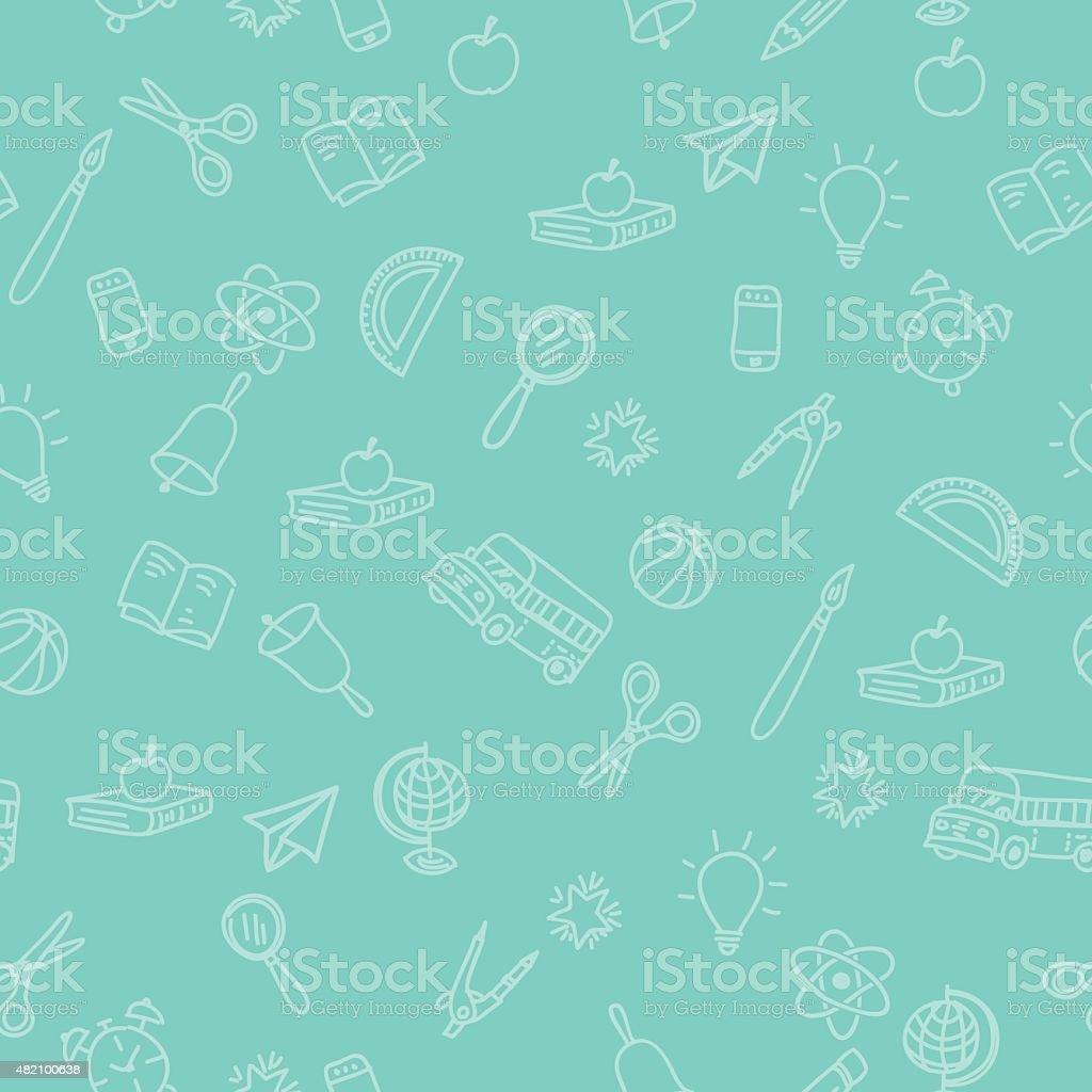 Retour à fond école fournitures avec motif sans couture. - Illustration vectorielle
