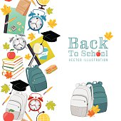 Back To School Supplies background with vertical seamless pattern border. Alarm clock, books, pencils, a stack of books, school lunch, magnifying glass, globe and fall leaves.
