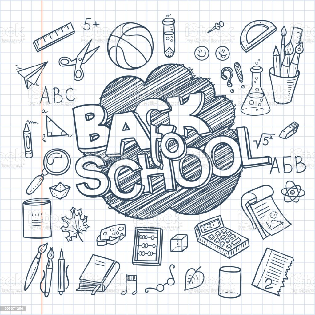 Back To School Supplies Collection Sketchy Notebook