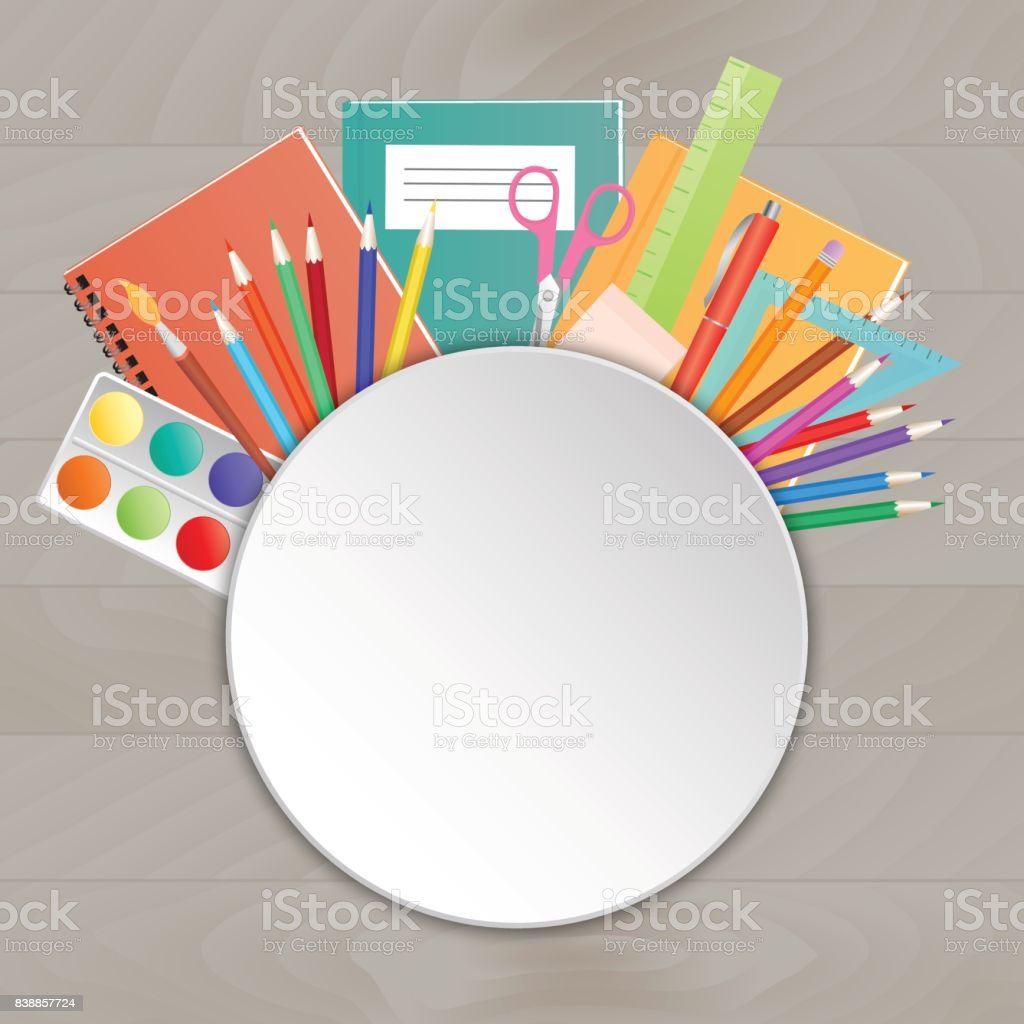 Back To School Supplies On A Wooden Table Template For Sale Fairs ...