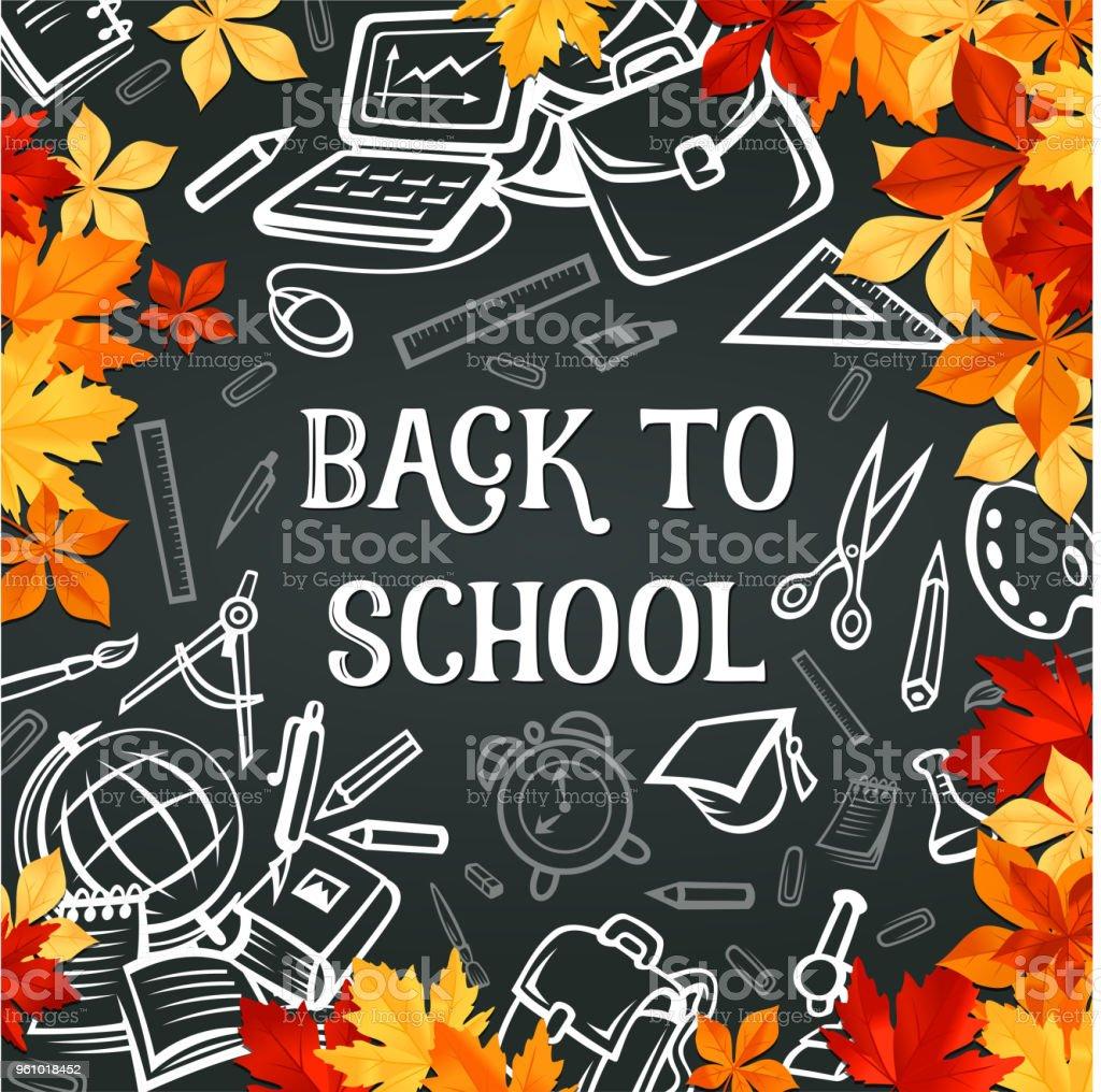 Zurück Zur Schule Liefert Poster Mit Rahmen Des Blattes Stock Vektor ...