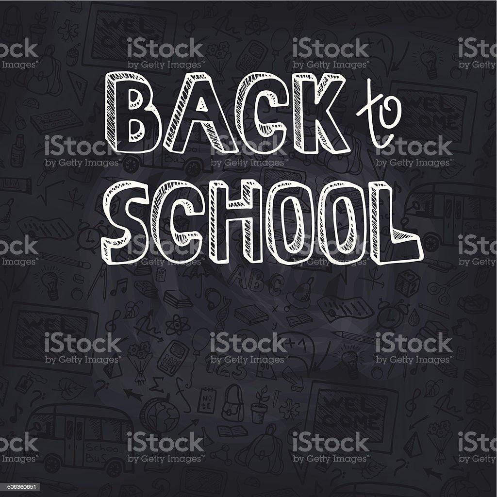 back to school supplies sketchy chalkboarddoodles backdrop stock