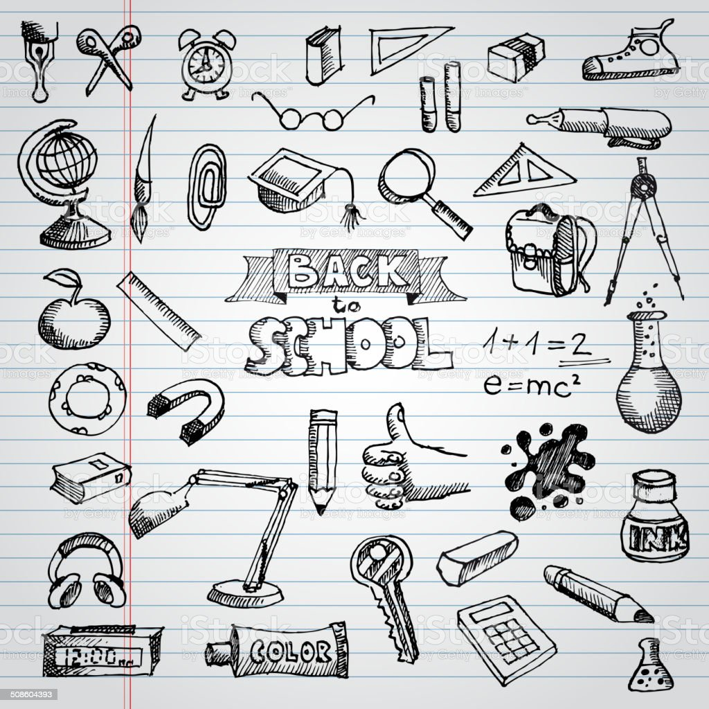 Back to School Supplies Sketchy Notebook Doodles with Lettering vector art illustration