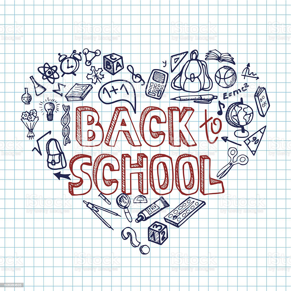 Back To School Supplies Sketchy Notebookdoodlesheart Stock