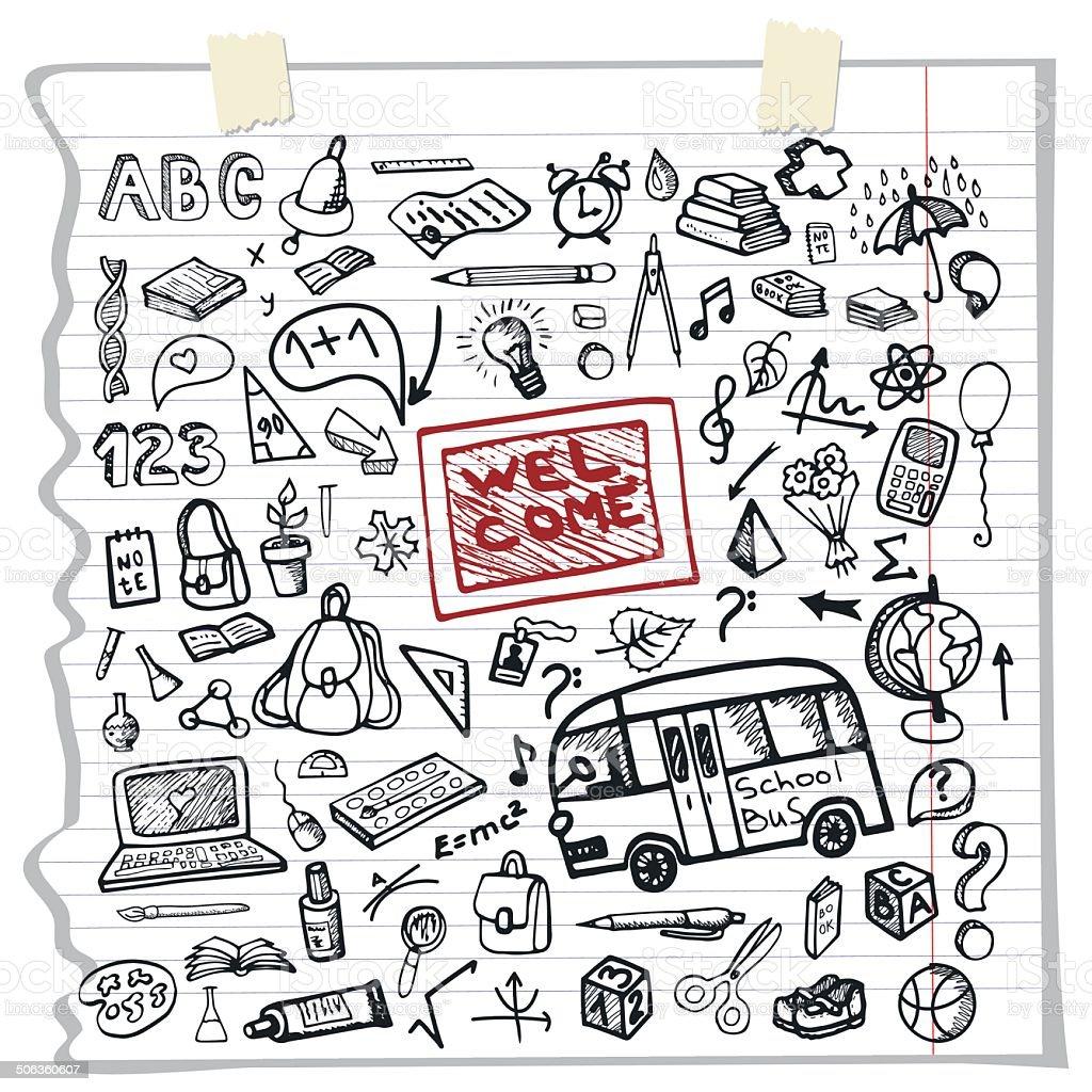 Back To School Supplies Sketchy Notebookfunny Doodles ...