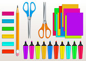 Back to school supplies vector set with realistic colorful marker pens, rubber erasers, scissors, pencil and colored paper. Elements design for art and craft, office supplies, education