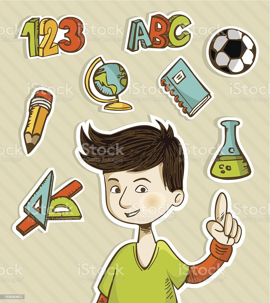 Back to school teenager indicate icons royalty-free stock vector art