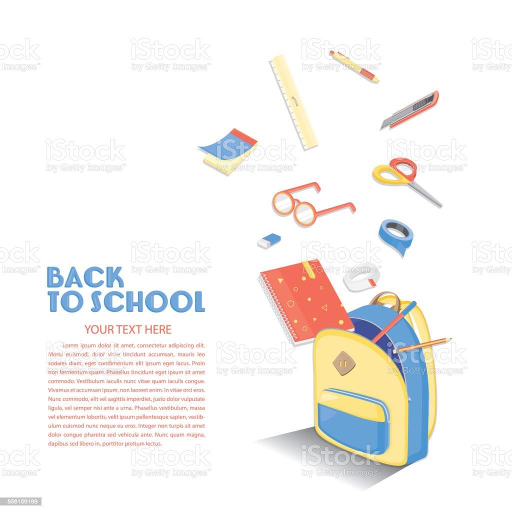 Zurück Zu Schule Vorlage Stock Vektor Art und mehr Bilder von ...