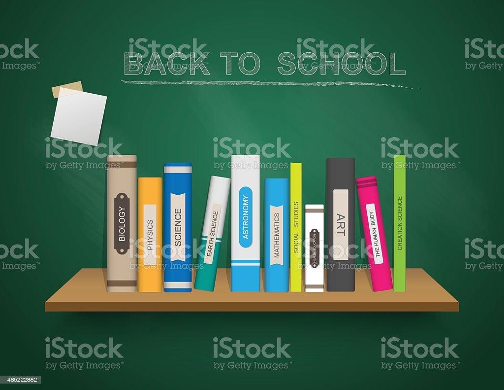 De Vuelta A La Escuela Plantilla Con Libro Estante Ilustración ...
