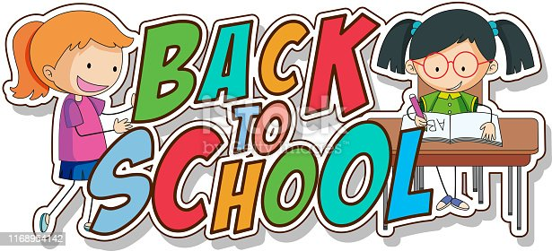 Back to school template with girls illustration