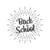 Back to school text, great design for any purposes. Doodle vector. Hand drawn phrase. School board background. Vector illustration