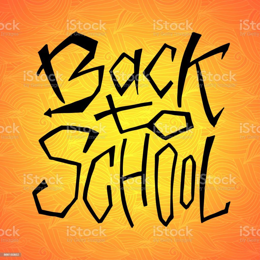 Back to school text on orange backdrop lettering design for icon back to school text on orange backdrop lettering design for icon greeting cards m4hsunfo