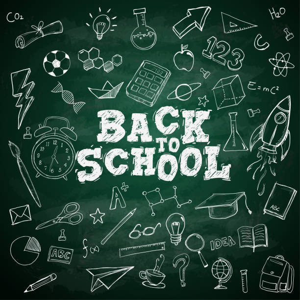 Back to School Text School Stationary Doodles on Blackboard Back to School Text School Stationary Doodles on Blackboard back to school stock illustrations