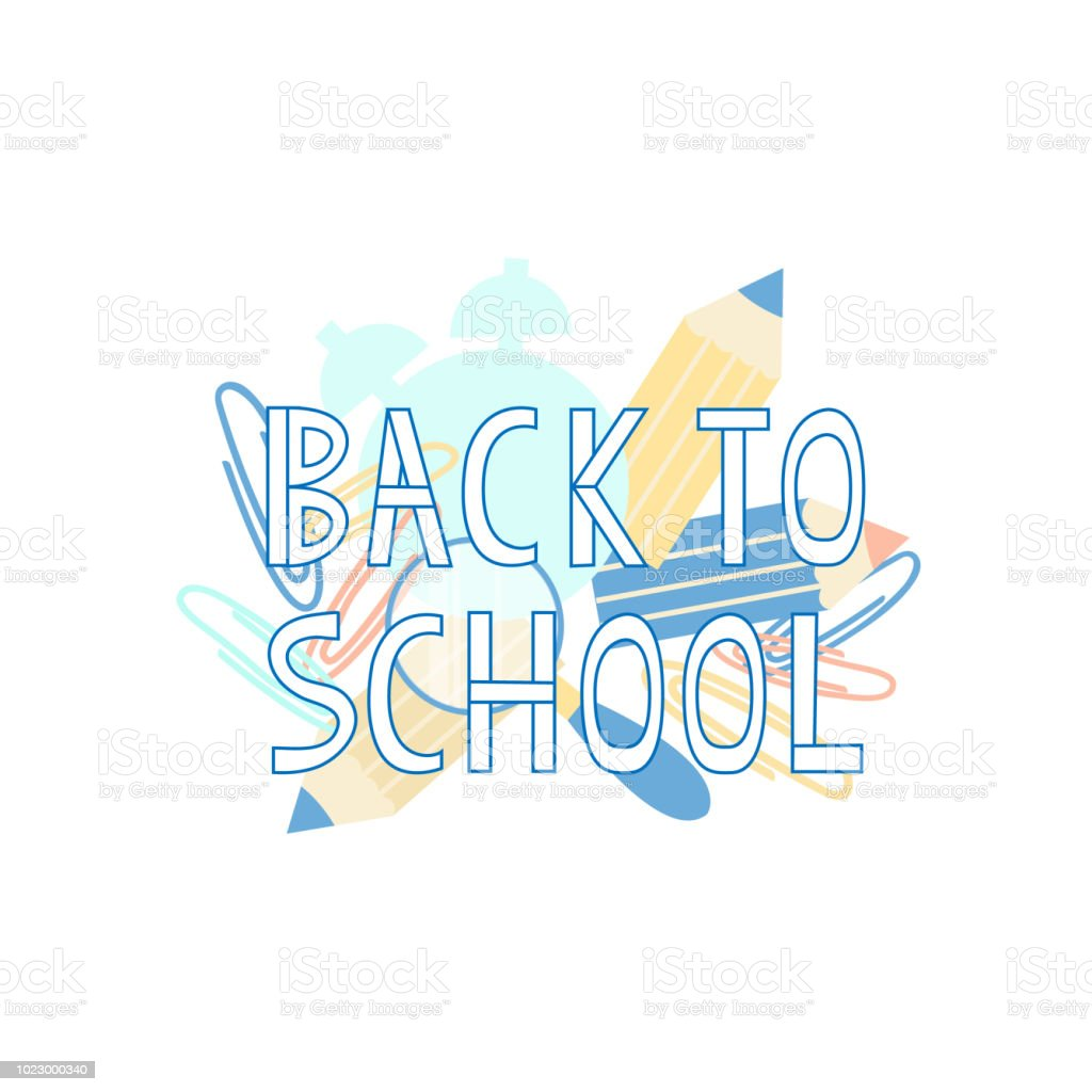 Back To School Text With School Supplies Elements Typography Design