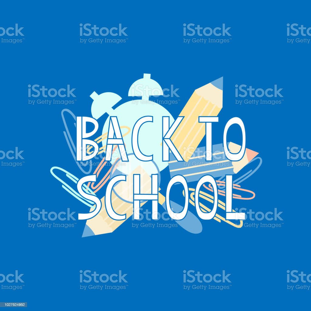 Back To School Text With School Supplies Elements Typography For