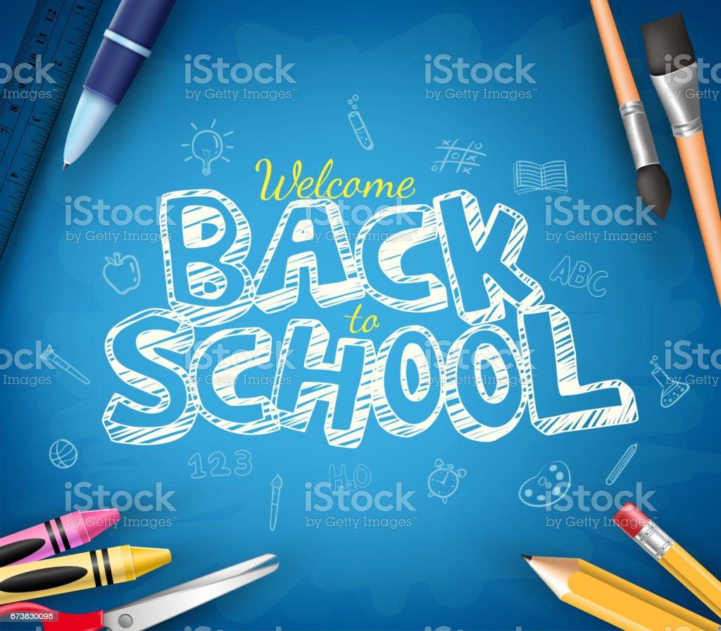 青い黒板背景で書かれた学校テキストに戻る ベクターアートイラスト