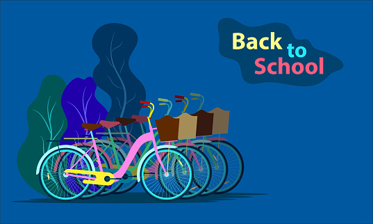 back to school. the bicycle at school park. vector illustration eps10