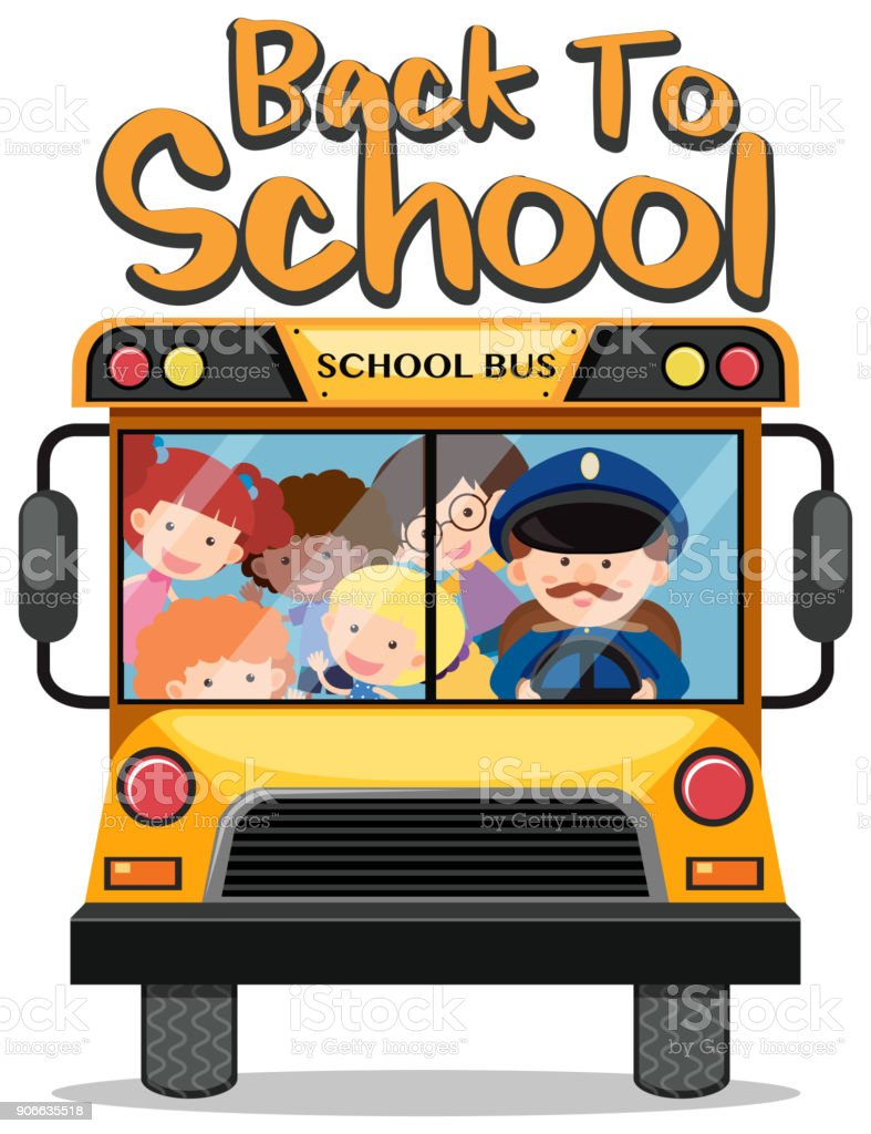 Back to school theme with kids on school bus vector art illustration