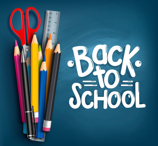 Back to School Title Words with Realistic School Items Back to School Title Words with Realistic School Items With Colored Pencils, Scissor, Pen and Ruler in a Blue Texture Background. Vector Illustration elementary school teacher stock illustrations