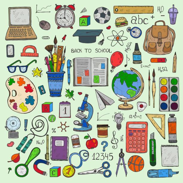 stockillustraties, clipart, cartoons en iconen met terug naar school. hulpprogramma's voor het onderwijs - schoolspullen