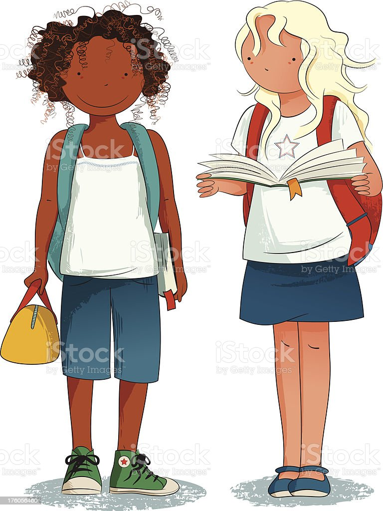 Back to School - Two Happy Students royalty-free stock vector art