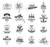 Back to school typographic labels set. Isolated vector elements. First day of school emblems. Calligraphy, lettering design. Usable for greeting cards, posters, banners.